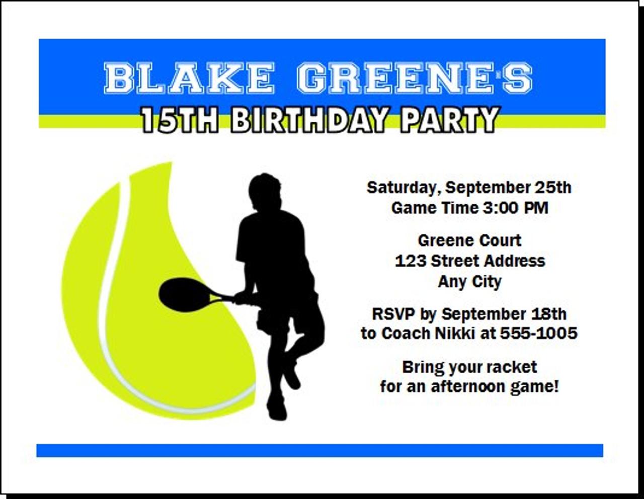 Tennis birthday party invitation set of 12 tennis birthday party invitation filmwisefo