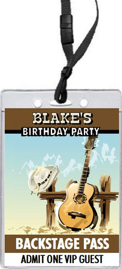 Country Music Birthday Party VIP Pass Invitation