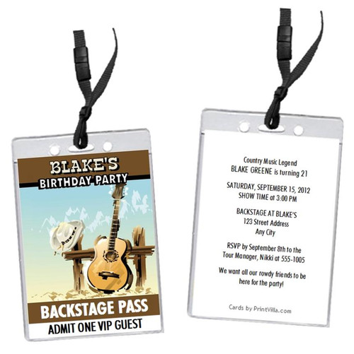 Country Music Birthday Party VIP Pass Invitation Front And Back