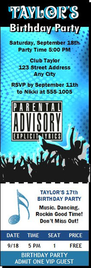 Country music star birthday party invitation crowd surf explicit lyrics birthday party ticket invitation stopboris Images
