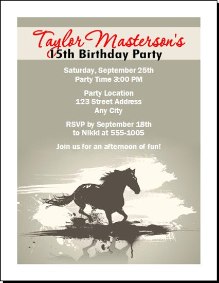 Horse birthday party invitation horse birthday party invitation set of 12 filmwisefo