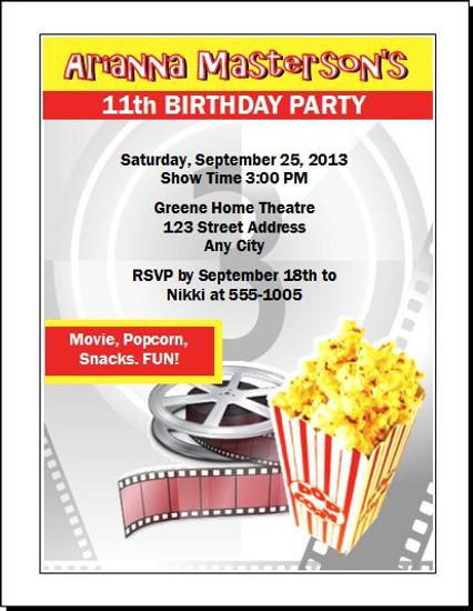Movie Party Birthday Invitation Set Of 12