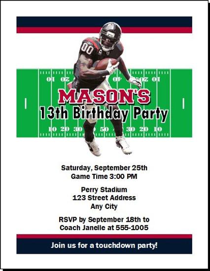 Houston texans colored football birthday party invitation houston texans colored football birthday party invitation set of 12 filmwisefo