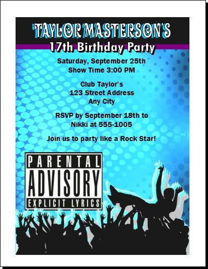 Crowd surf explicit lyrics birthday party invitation crowd surf explicit lyrics birthday party invitation set of 12 stopboris Images