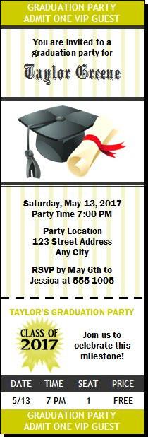 Cap diploma graduation party ticket invitation filmwisefo