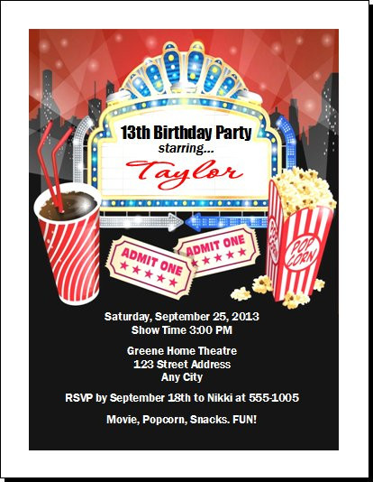 Movie night birthday party invitation movie night birthday party invitation set of 12 filmwisefo