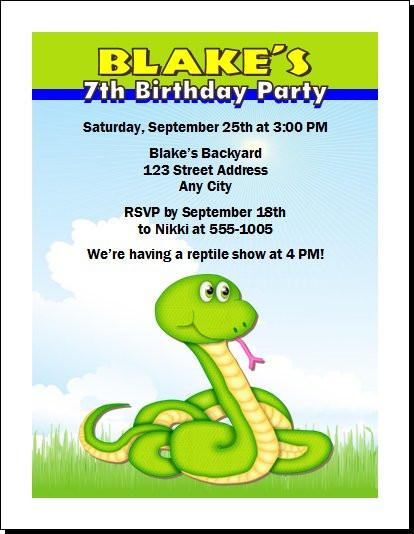 Rattlesnake reptile birthday party invitation filmwisefo