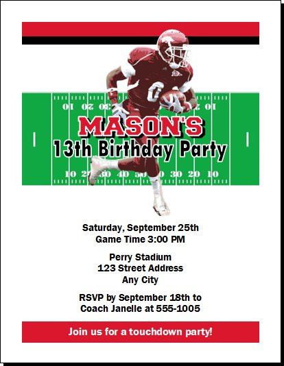 arkansas razorbacks colored football birthday party invitation
