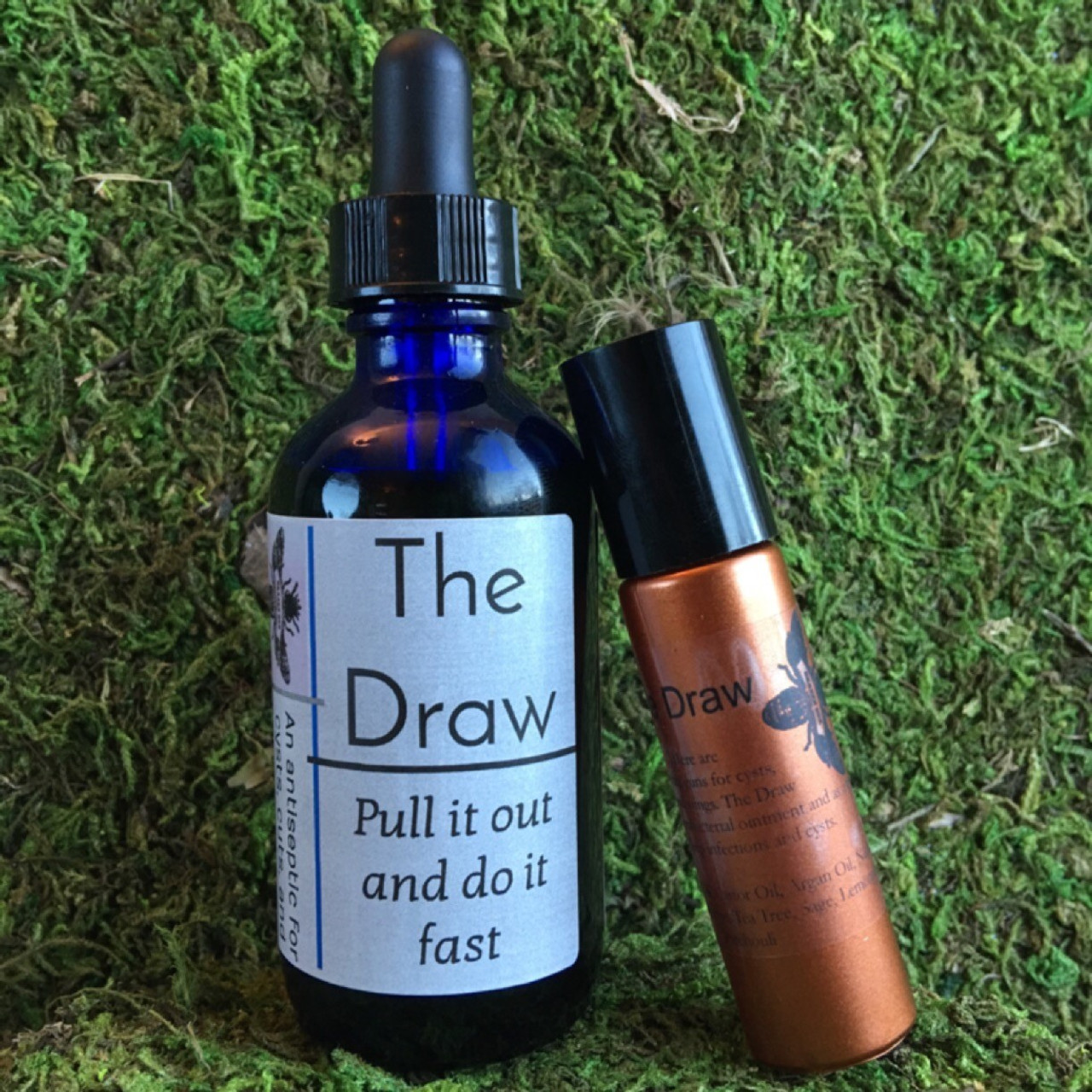 The Draw is for Cysts and infections and is also perfect anti-bacterial stick to carry for children's ouchies on the go. Ingredients: Hazelnut Oil, Castor Oil, Argan Oil, Neem Oil  Essential Oils: Tangerine, Tea Tree, Sage, Lemongrass, Patchouli
