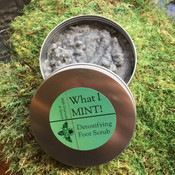 What I MINT Detoxifying Foot Scrub with charcoal and epsom salt. Shea butter and Cocoa Butter make this a rich foot scrub and the menthol will provide cooling and relaxing for an hour after use.