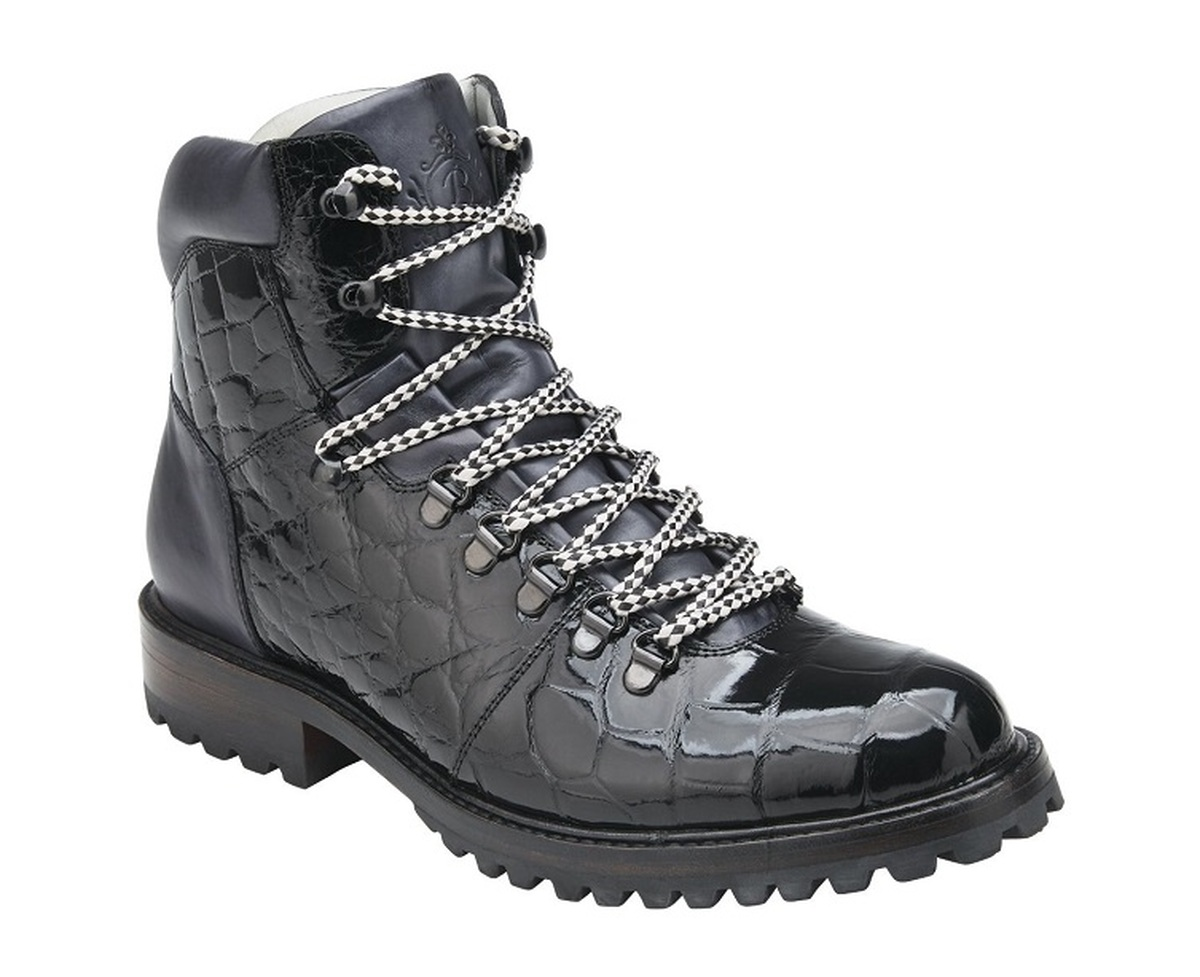 Belvedere Black Alligator Hiking Boots Damian