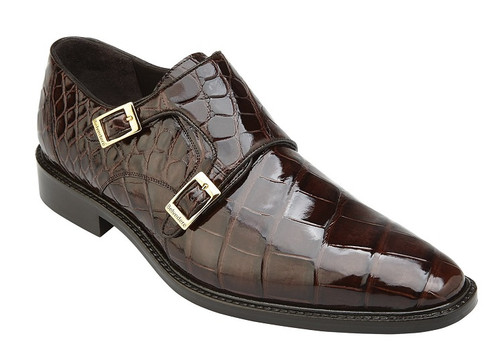 Belvedere Alligator Shoes Mens Chocolat Brown Double Buckle Strap Oscar