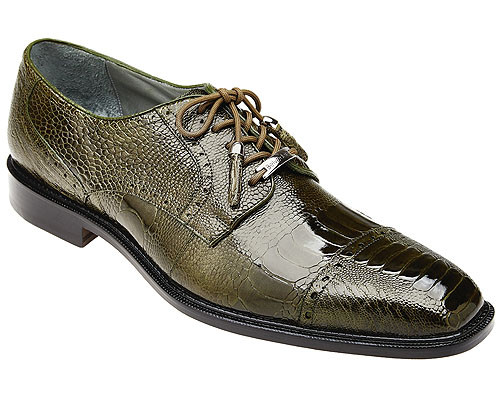 Belvedere Mens Olive Green Ostrich Skin Cap Toe Shoes Batta 14006