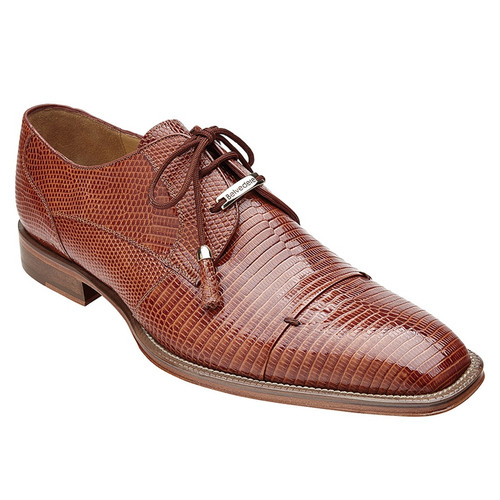 Belvedere Shoes Mens Tan Fancy Lizard Skin Italian Oxford Karmelo 1497