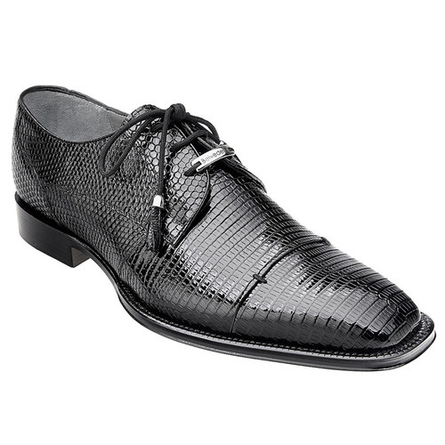 Belvedere Mens Black Lizard Skin Shoes Karmelo 1497