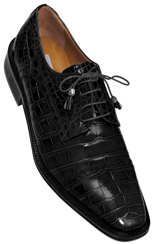 Mens Black Italian Alligator Shoes Exotic Style by Ferrini 216/Monti