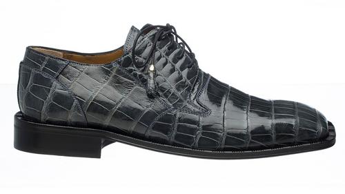 Alligator Shoes Hand Made Ferrini Men's Exotic Grey Shovel Toe 208/51