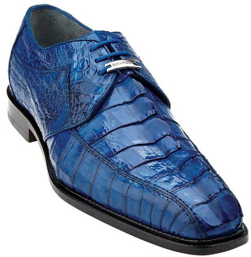Belvedere Crocodile Shoes Mens Bright Blue Hornback Top Columbo