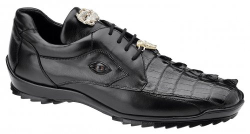 Belvedere Jet Black Genuine Crocodile Hornback Exotic Sneaker Vasco 336122