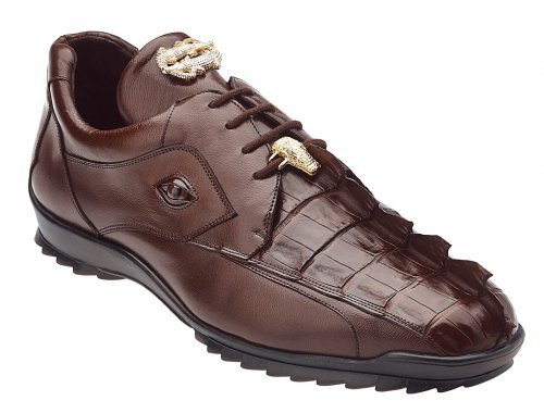 Belvedere Mens Brown Genuine Hornback Top Crocodile Skin Sneaker Vasco 336122