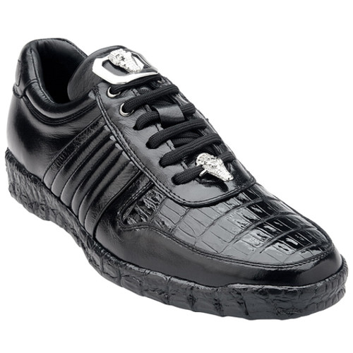 Belvedere Shoes Black Crocodile Top Sneakers Astor 3000