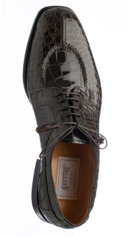 Alligator Belly Skin Mens Shoes Seam Top Olive Green Ferrini 3520/155