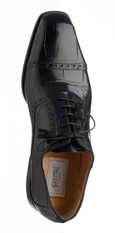 Mens Black Italian Alligator Shoes Cap Toe by Ferrini 3922/169