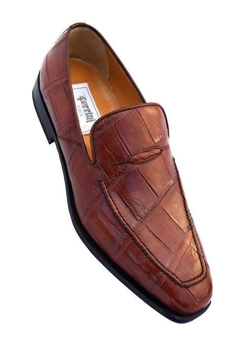 Italian Crocodile Loafers Cognac Brown