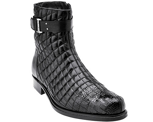 Belvedere Mens Black Exotic Alligator Toe Quilted Boot Libero