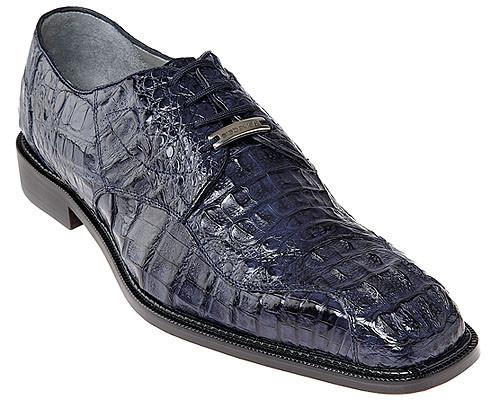 Belvedere Mens Navy Blue Authentic Crocodile Shoes Lace Up Chapo