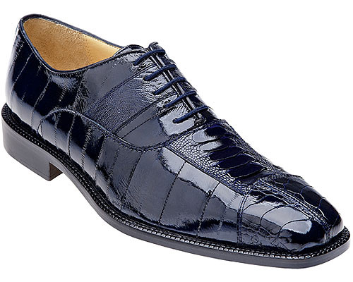 Belvedere Mens Navy Genuine Eel and Ostrich Skin Shoes Mare 2P7