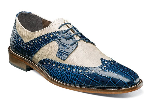 Stacy Adams Shoes Blue Tan Alligator Texture Wingtip Gusto 25167-460