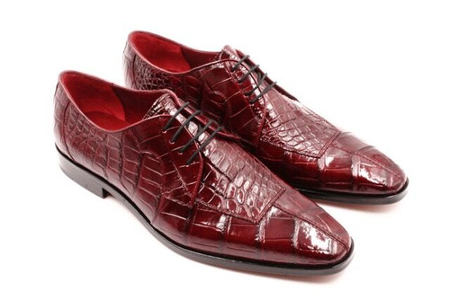 David Eden Wine Burgundy Alligator Shoes Apron Toe Capelli