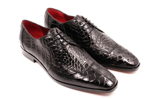 David Eden Black Alligator Shoes Apron Toe Capelli