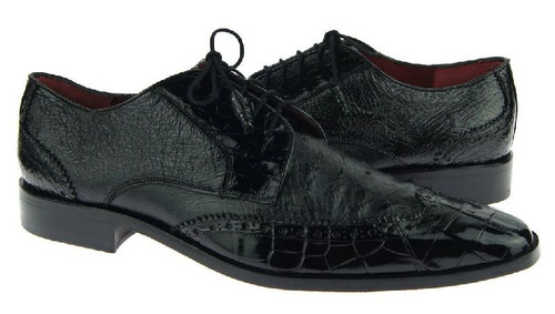 David Eden Mens Black Alligator Ostrich Wingtip Shoes Wingman
