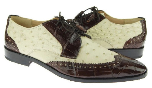 David Eden Brown Bone Alligator Ostrich Wingtip Shoes Wingman