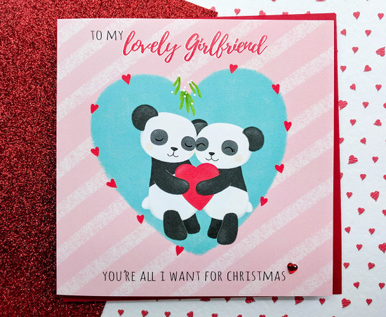 PAX & KIZZY Pandas - GIRLFRIEND Christmas Card