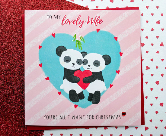 PAX & KIZZY Pandas - WIFE Christmas Card