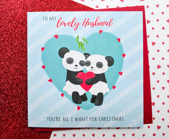 PAX KIZZY Pandas HUSBAND Christmas Card
