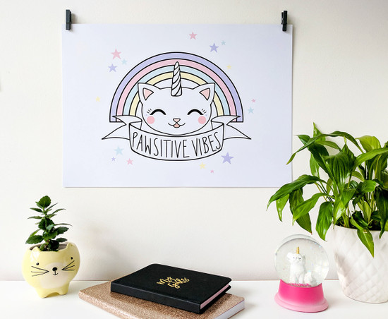 unicorn cat art print - motivational words