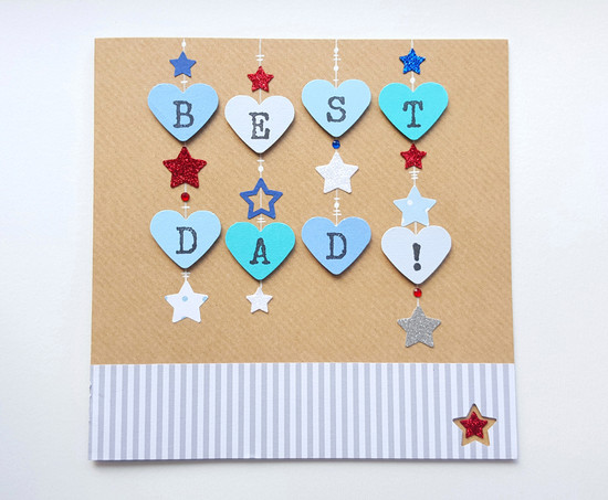 BEST DAD Starry Hearts Father's Day Card