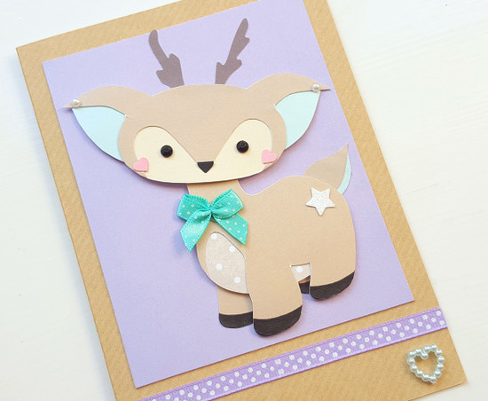 Handmade birthday card cute deer