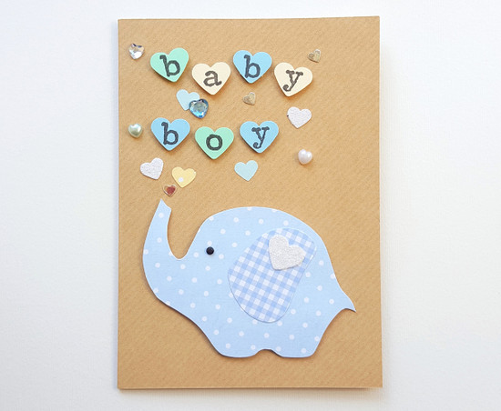 handmade baby boy card cute elephant