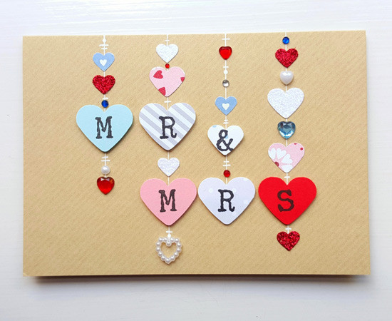 MR & MRS Hearts Wedding Card