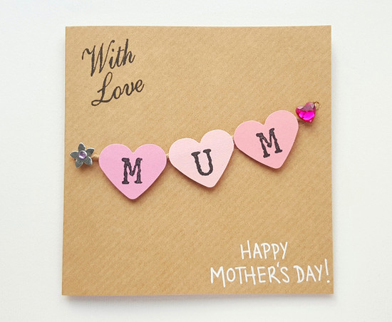 Handmade Mothers Day card hearts bunting