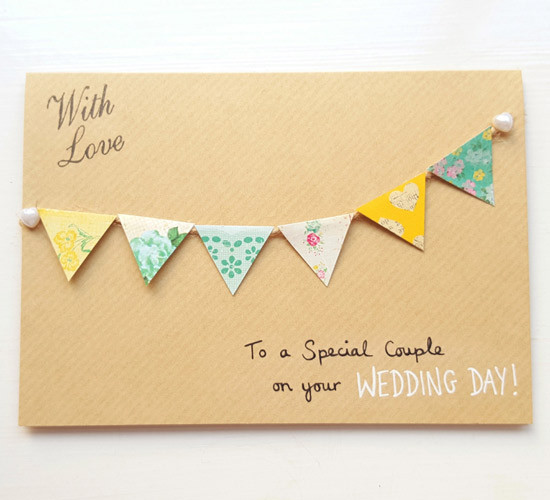 Floral Bunting Wedding Card