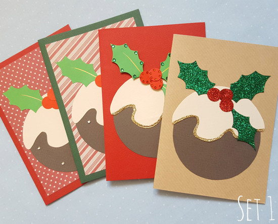 handmade christmas card packs  - xmas pudding