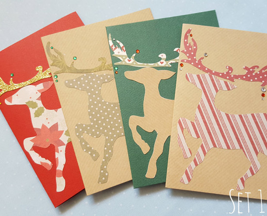 handmade reindeer christmas card packs