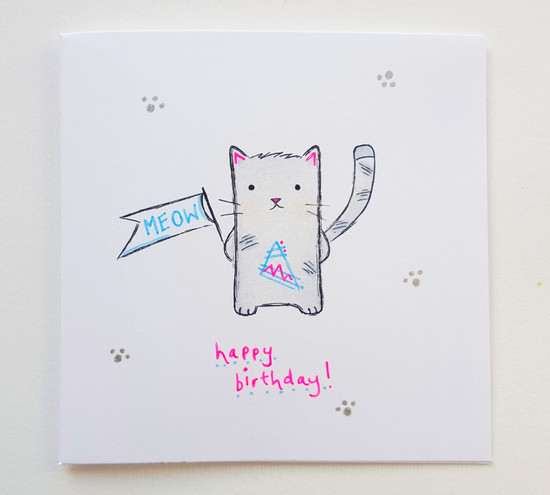 Hand Drawn MEOW Cat Birthday Card