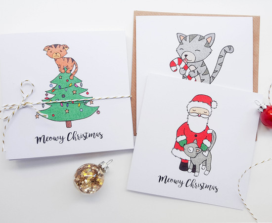 Pack of 10 Christmas Cats Cards